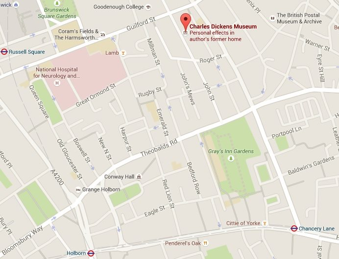A map of how to get to the Charles Dickens Museum by foot