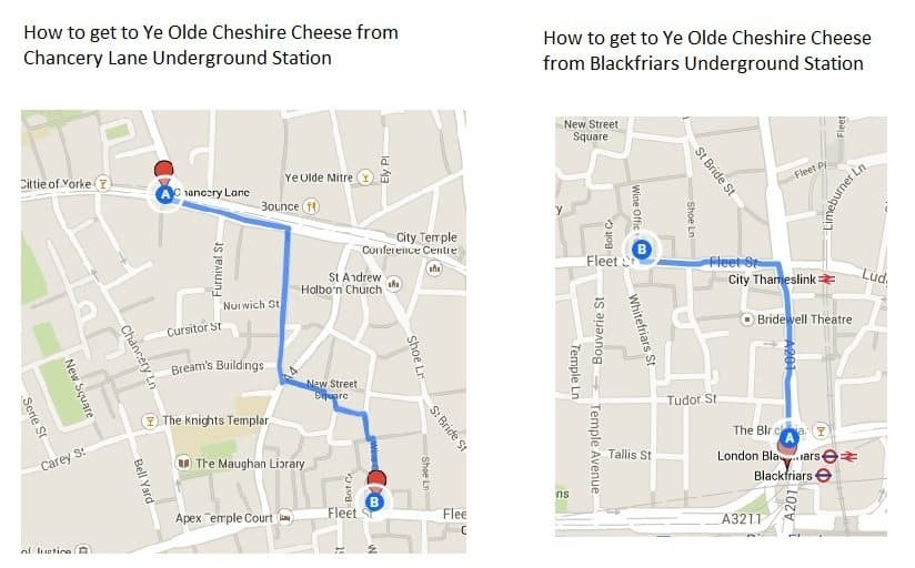 How to get to Ye Olde Cheshire Cheese