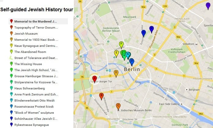 Self-guided Jewish Berlin Tour map