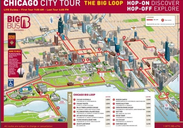 Big Bus Chicago Hop on hop off Route Map