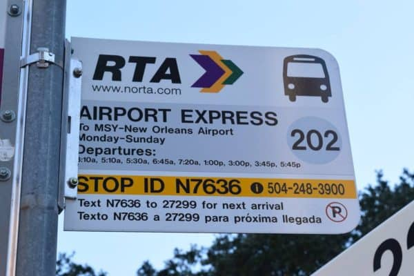 New Orleans RTA Airport Shuttle Bus Stop.
